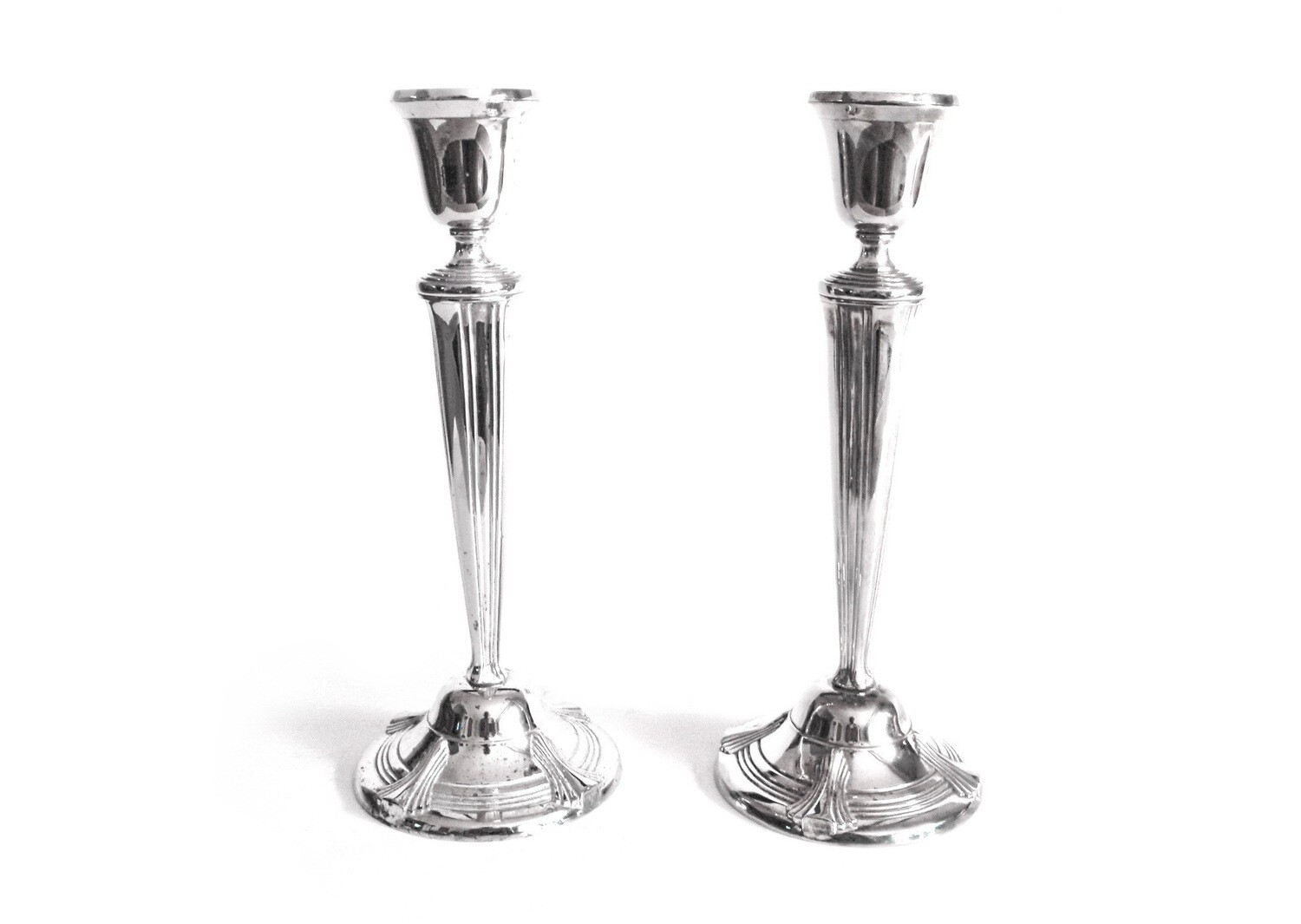 Pair Elegant Art Deco Silver Candlesticks Candle Holders