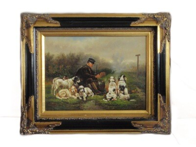 Hunting Scene Oil Painting with Spaniel Dogs Gilt Frame