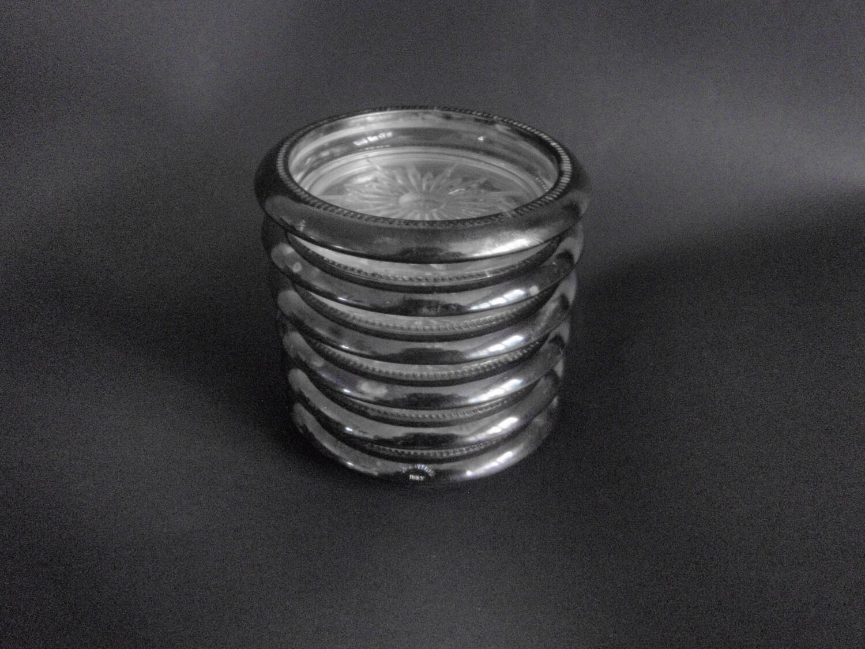 6 Vintage Italian Silver Cut Glass Coasters or Ashtrays