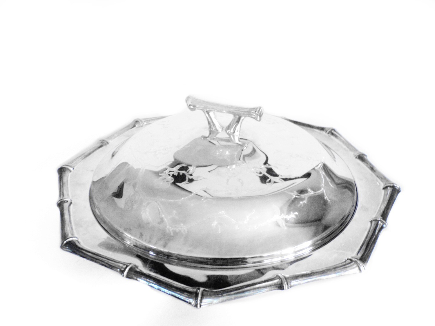 Vintage Silver Asian Inspired Lidded Casserole Server