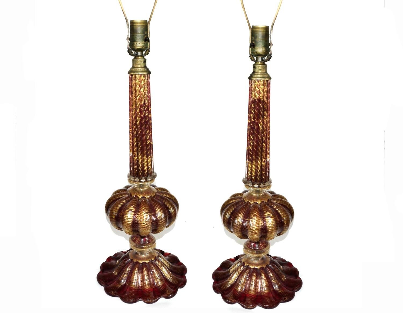2 Barovier Toso Cordonato D'Oro Italian Glass Lamps