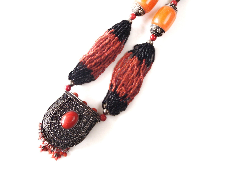 Vintage Naga Beads Necklace Stash Medallion