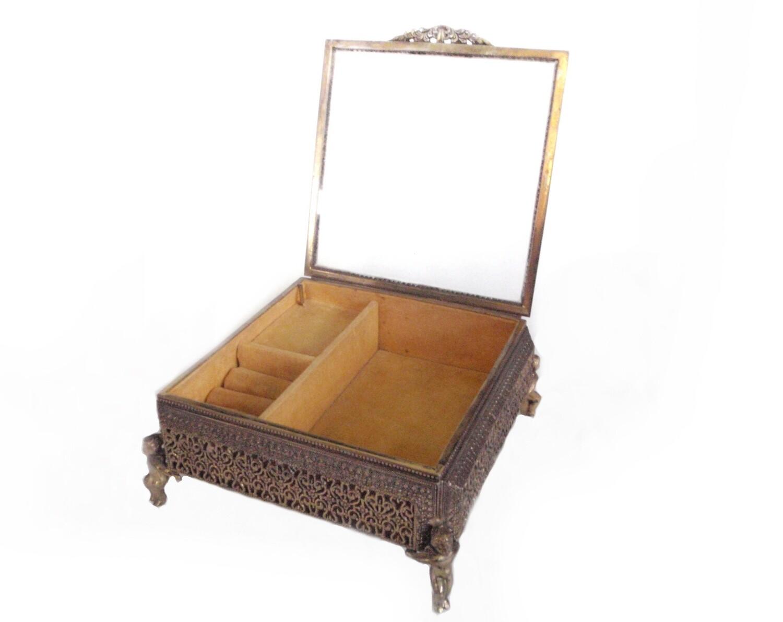 Vintage Brass Musical Jewelry Box with Cherub Feet