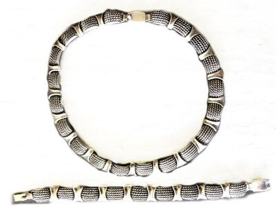 Molina Taxco Trompe L'oeil Silver Necklace Bracelet Set