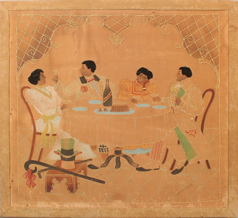 Antique Black Americana Embroidery Couples Celebrating