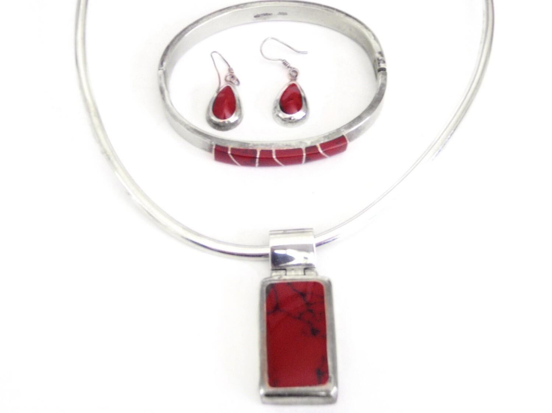 Taxco Silver and Jasper Necklace, Bracelet, Earrings Set