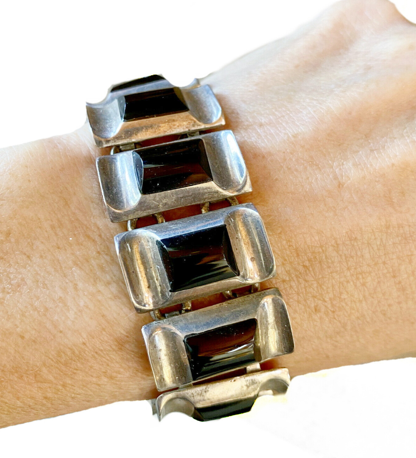 Taxco Mexican Silver Onyx Panel Link Bracelet