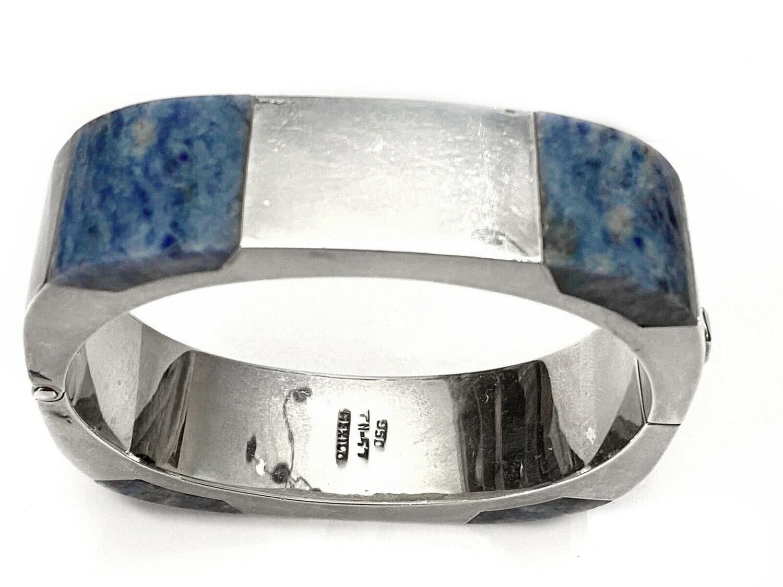 Taxco 950 Inlaid Lapis Square Hinged Cuff Bracelet