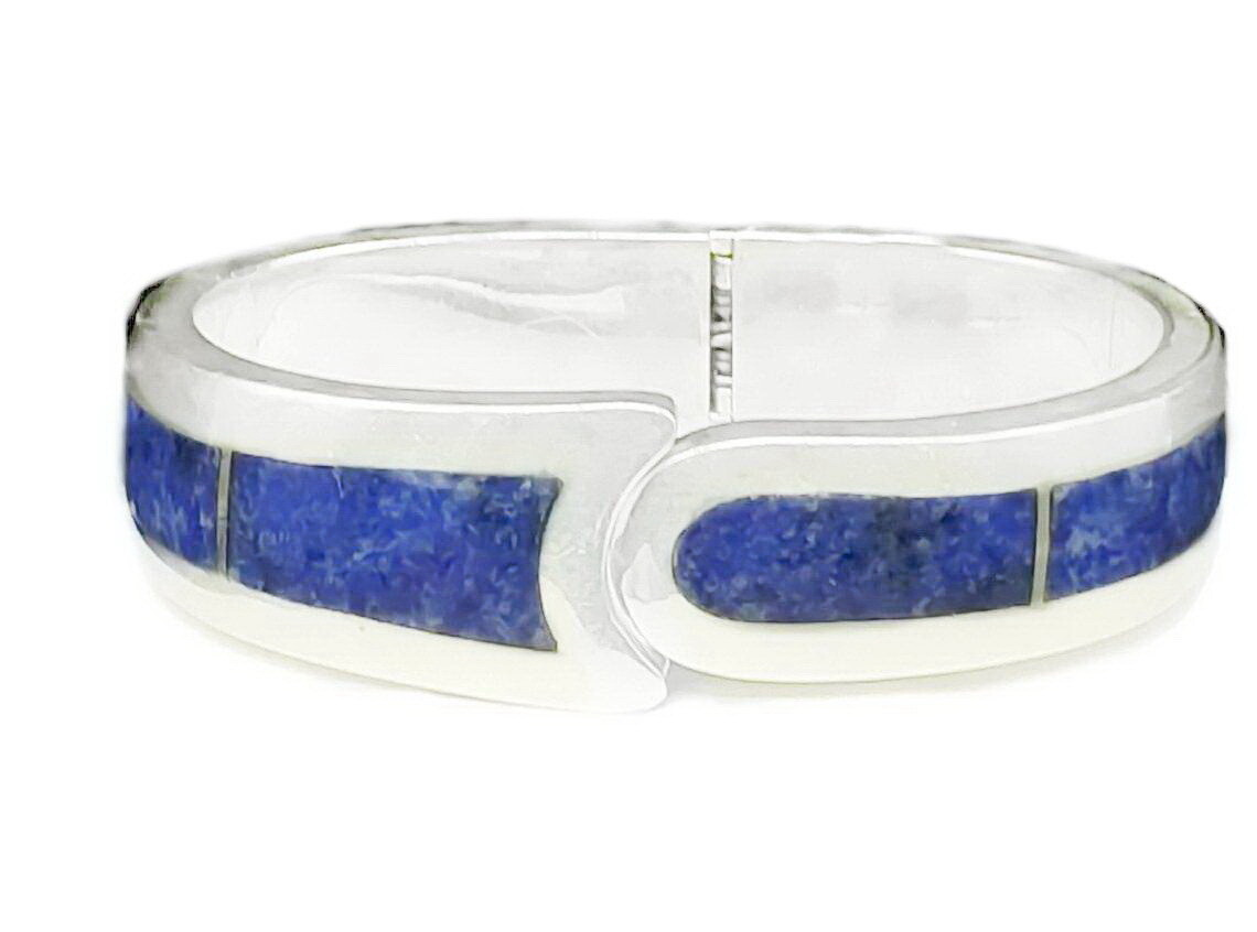 Taxco Sodalite Mexican Silver Hinged Cuff Bracelet