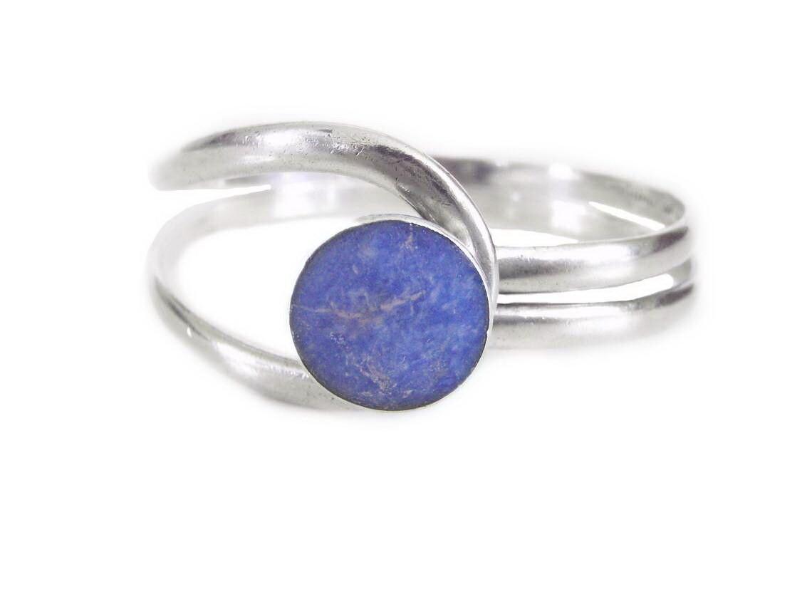 MCM Taxco Silver Lapis Lazuli Button Cuff Bracelet