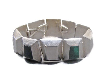 Vintage Chunky Taxco Malachite Onyx Panel Link Bracelet
