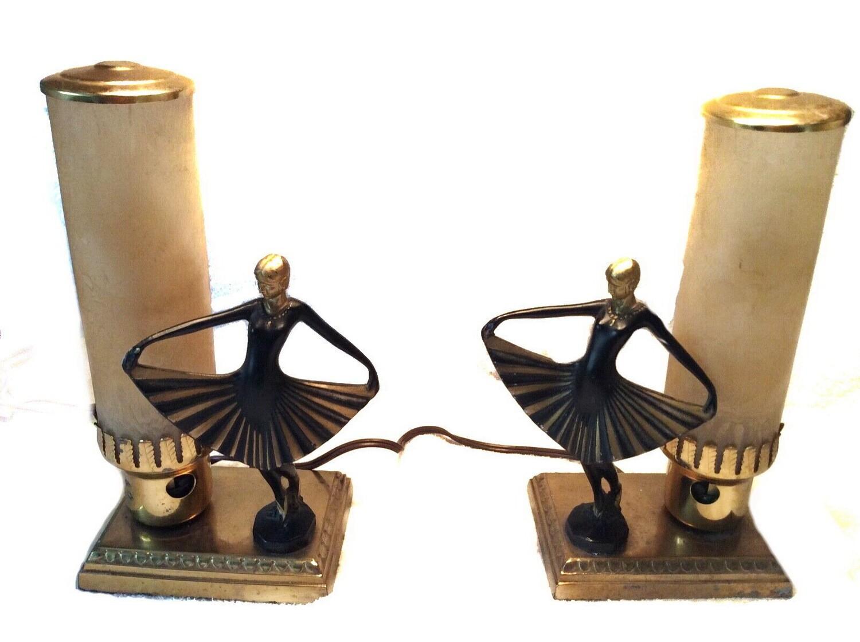 2 Art Deco Dancer Bullet Boudoir Table Lamps