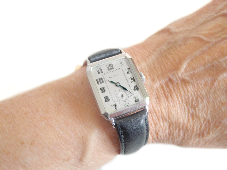 1927 Bulova 14k WG Flip Top Etched Art Deco Watch