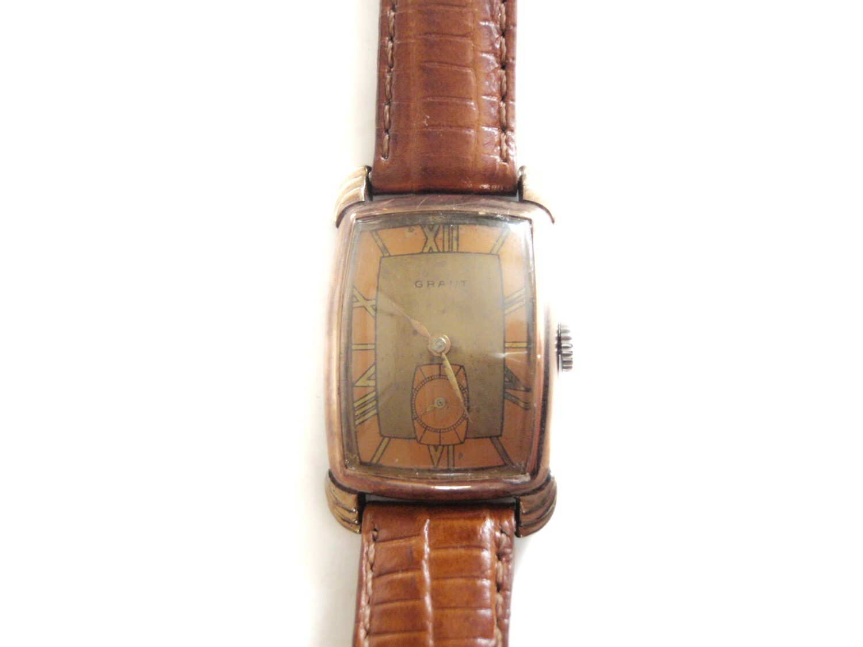 Art Deco Copper Brass Two Tone Tank Style Watch