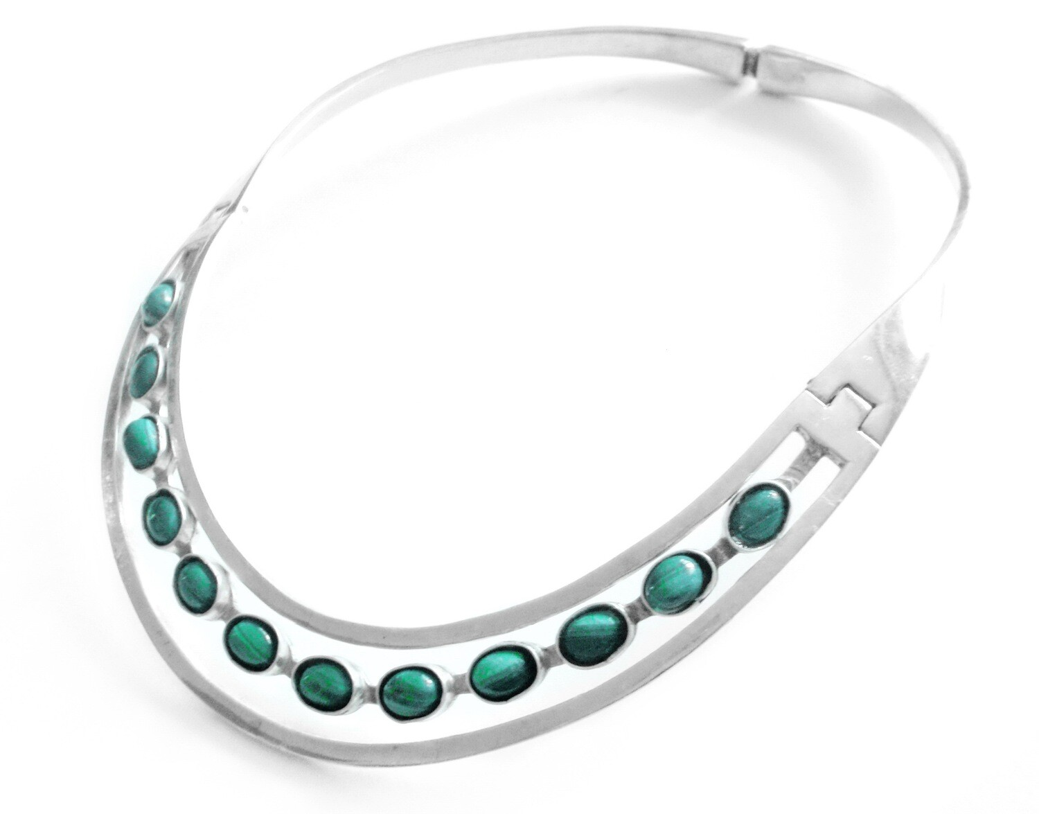 Taxco Mexican Silver Malachite Channel Hinged Necklace