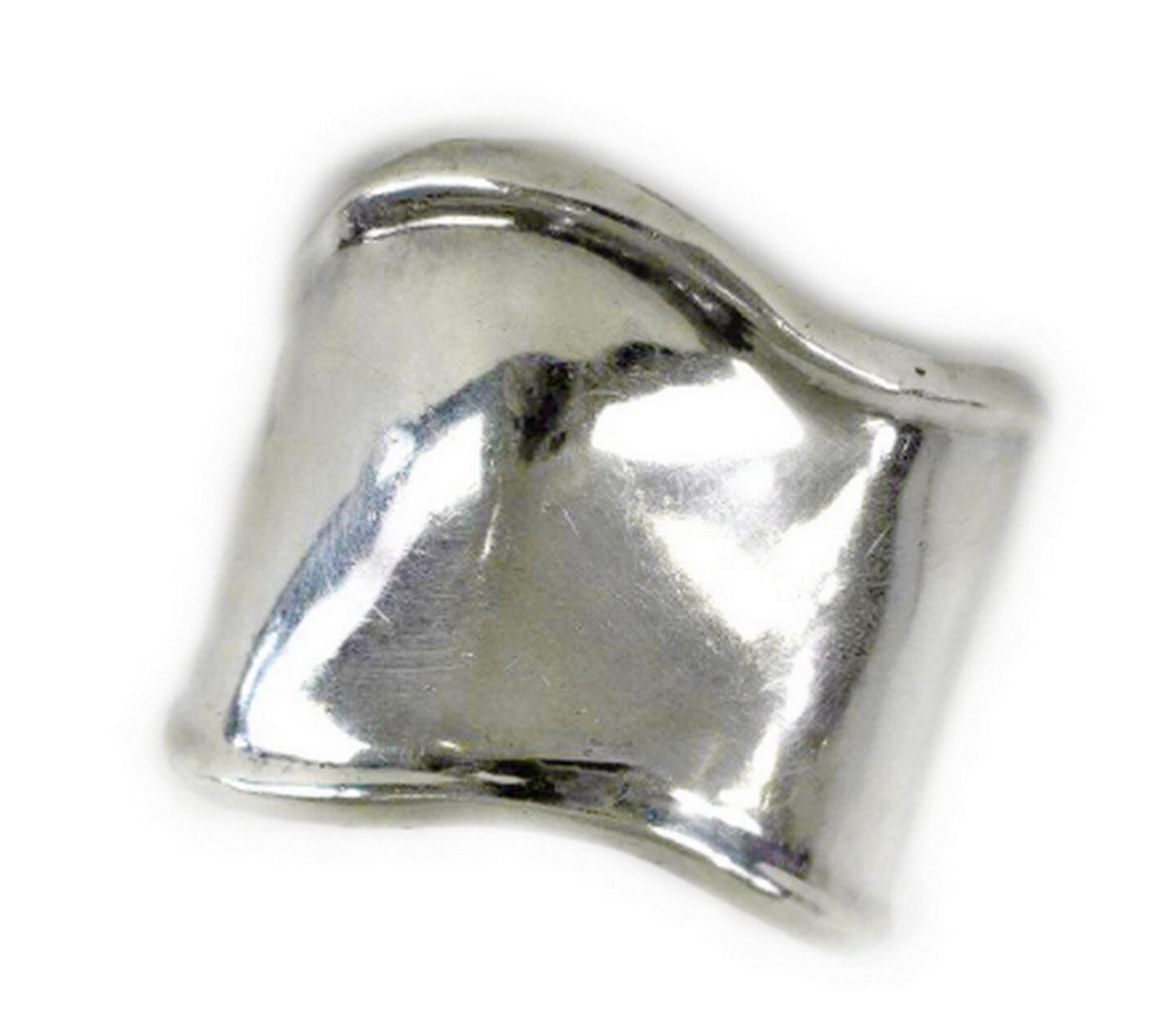 VTG Taxco Wide Silver Contoured Bone Cuff Bracelet