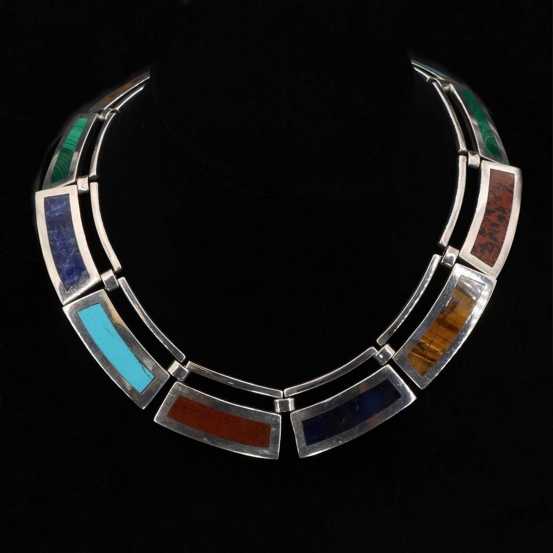 VTG Taxco Multi Stone Collar Panel Necklace