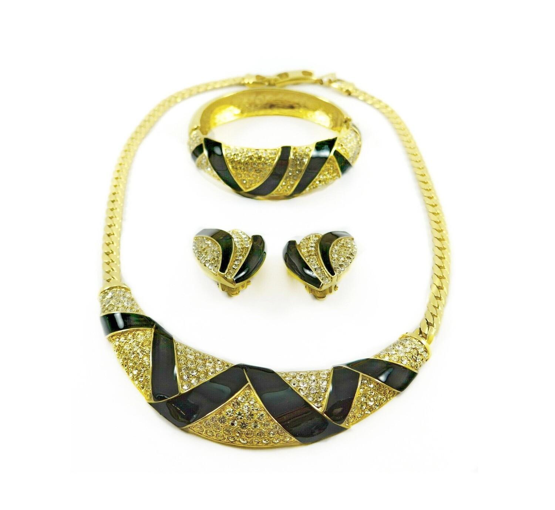 3 Pcs Oscar de la Renta Necklace Bracelet Earrings