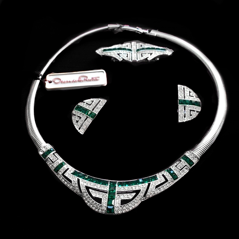 VTG Oscar de la Renta Emerald Necklace, Earrings, Brooch Set