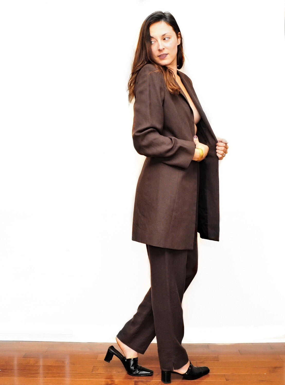 VTG Louben Chocolate Brown Linen Women's Pantsuit Sz 10