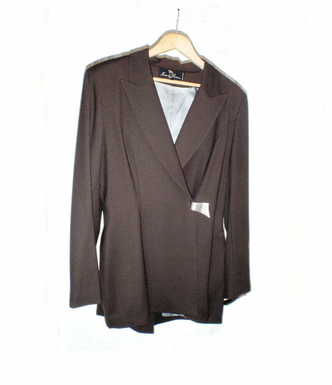 Ivoire de Laurence Wool Chocolate Brown Womens Pantsuit