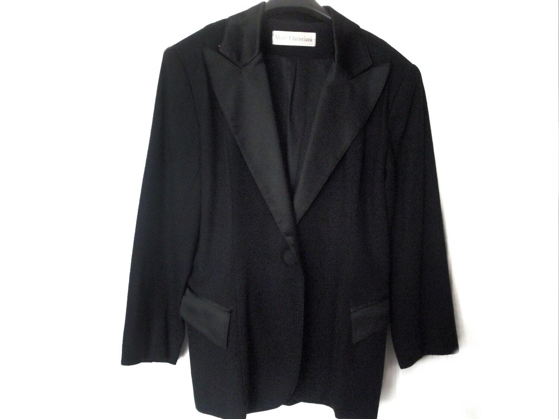 VTG Marc Christiani Ladies Wool Satin Tuxedo Jacket