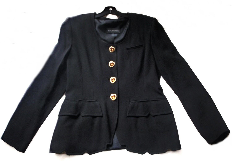 1980s Blacky Dress Pantsuit w/ Rhinestone Heart Buttons