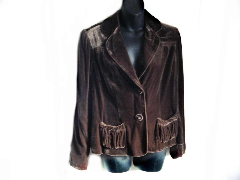 VTG Nik Zoe Chocolate Brown Velvet Jacket Blazer