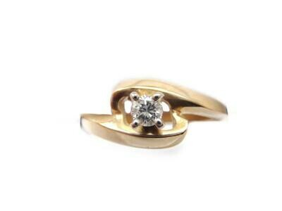 14k Yellow Gold Diamond By Pass Ring