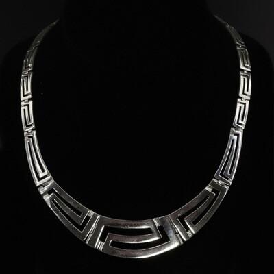 Vintage Open Greek Key Sterling Hinged Necklace