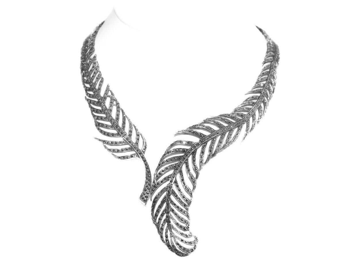 Vintage Bold Sterling Marcasite Statement Necklace