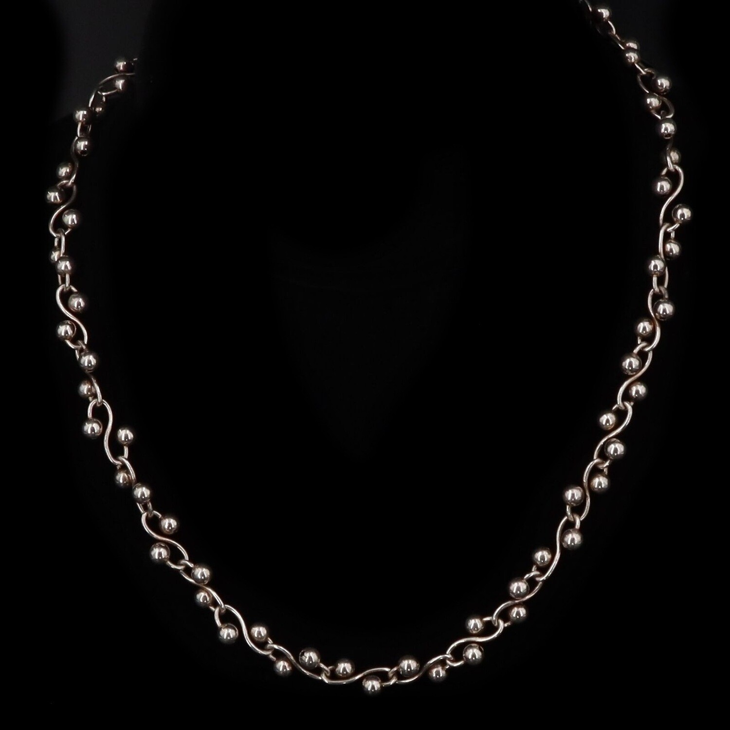 Vtg Italian Sterling Orb Curved Hook Chain Necklace