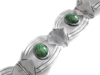 1930s Taxco Silver Cabochon Stones Bracelet Signed