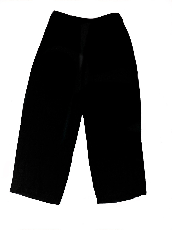 Vintage FLAX Black Pure Linen Ladies Pants Size M