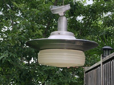 50s Schoolhouse Industrial Ceiling Light and Aluminum