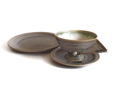 Artisan 3pc Studio Pottery Lunch or Dessert Set