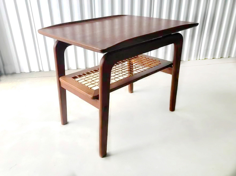Danish Mid Century Teak and Cane Side Table
