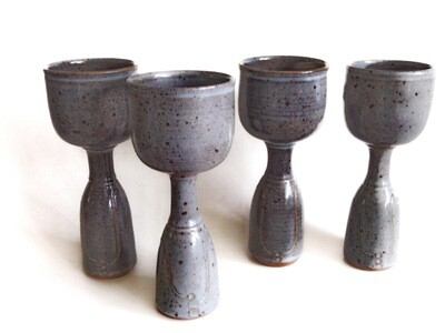 4 Stoneware Footed Goblets for Dinners and Wedding Toasts