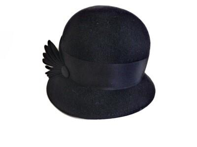Millner Made Black Felt Winter Cloche Ladies Hat