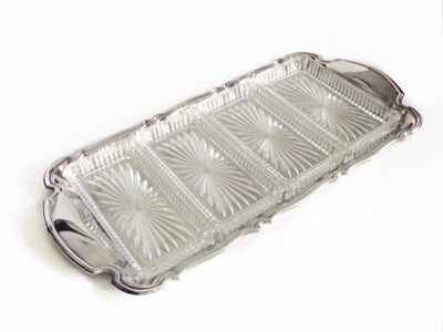 LARGE 50s Serving Tray with 4 Glass Dishes for Entertaining
