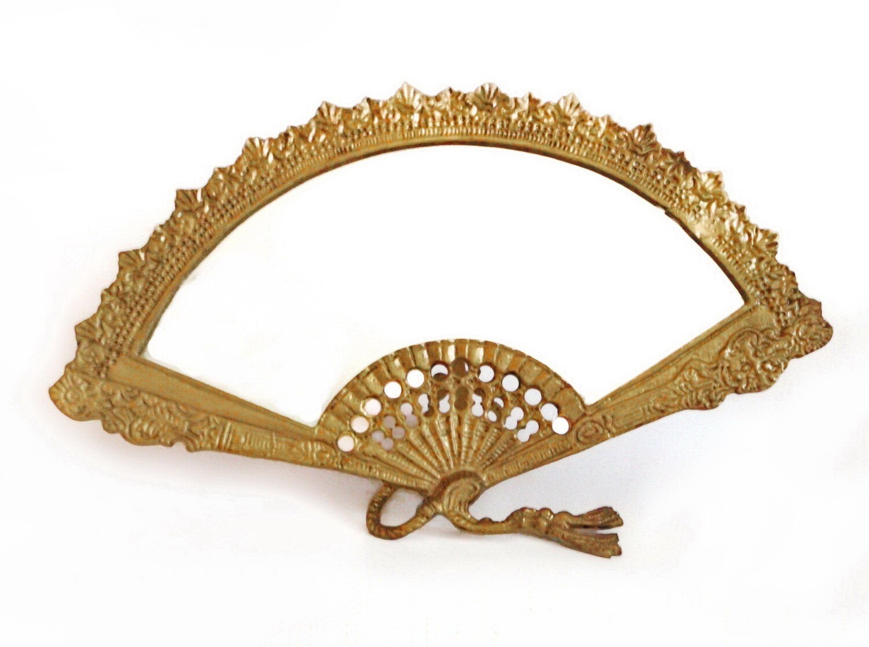 Antique Art Nouveau Brass Fan Shaped Table Mirror