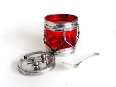 Novelty Silver Ruby Insert Drum Jam Jelly Condiment Jar