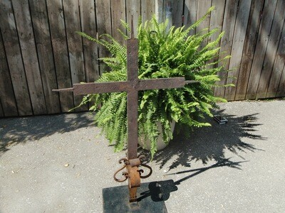 Antique Primitive Quebec Wrought Iron Church Cross