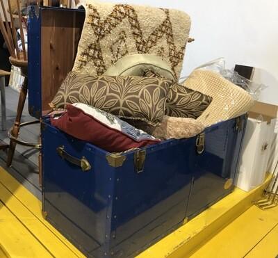 50s Everlite Blue Metal Cedar Steamer Trunk Storage