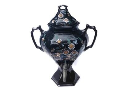 RARE Antique Stoneware Hand Painted Water Dispenser