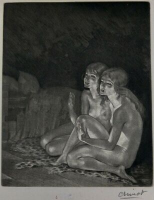 Art Deco Sgd Edouard Chimot Nude Lesbians Etching