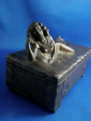 Art Deco c. 1920 Nude Flapper Bronze Cigar Cigarette Jewelry Box Sg'd Jennings Bros