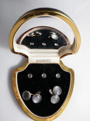 Mid Century Krementz Tuxedo Cuff Links Stud Set Boxed