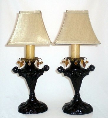 Pair Art Deco 2 Nude Lady Table Lamps Hanging Crystals
