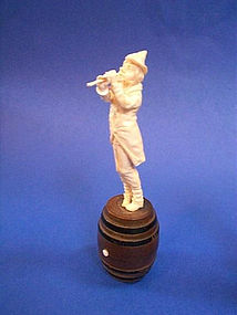 19th Century Hand Carved Ivory Musician Sculpture on Wine Barrel